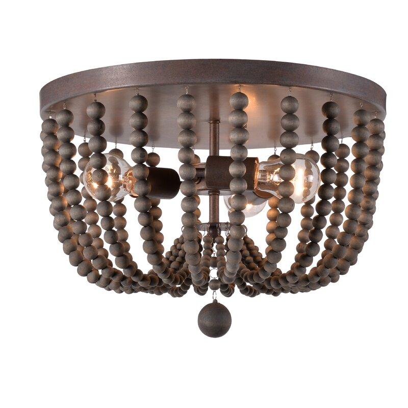 Tilden Wood Bead 3 Light Flush Mount Amp Reviews Allmodern