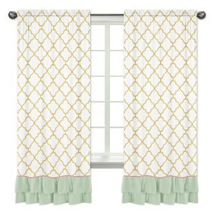 Ava Window Geometric Semi Opaque Rod Pocket Curtain Panels (Set Of 2)