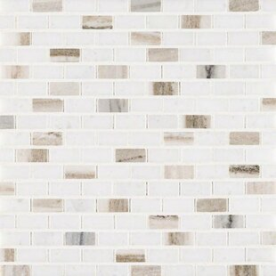 Palisandro Mini Brick Pol Marble Mosaic Tile In Gray Beige