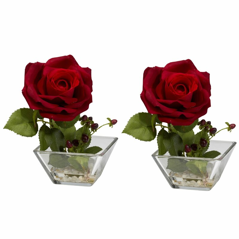 Nearly Natural Rose With Square Vase Silk Flower Reviews Wayfair