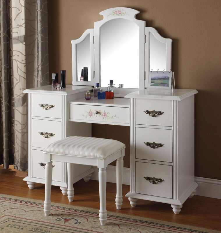 Makeup Dresser Part - 34: Makeup Vanity Set With Mirror