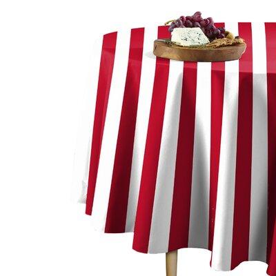 "Rosdorf Park Sam Stripe Table Cloth  Size: 114"" L x 114"" W, Color: Red"