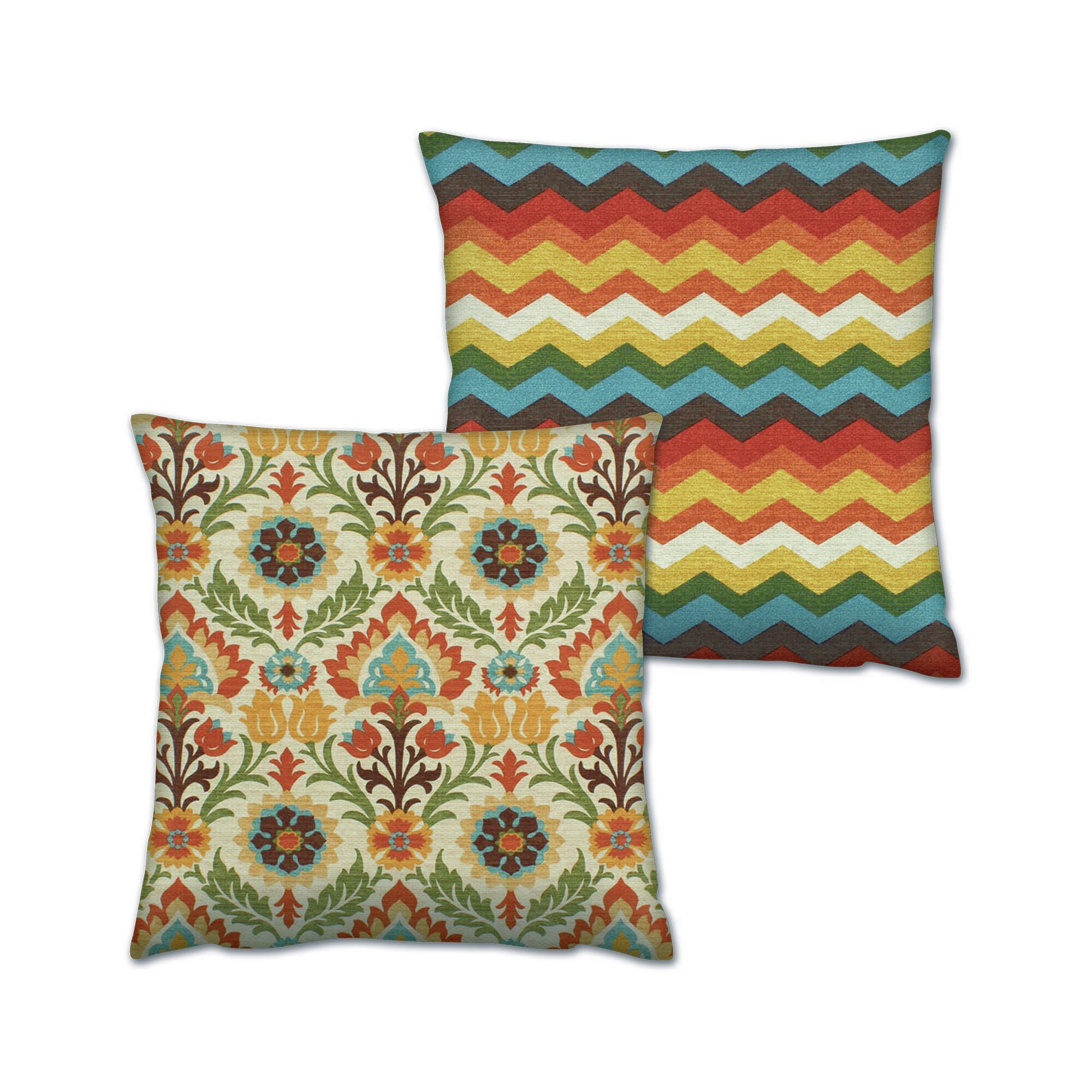 World Menagerie Clen 2 Piece Colorful Indoor Outdoor Throw Pillow Set Wayfair