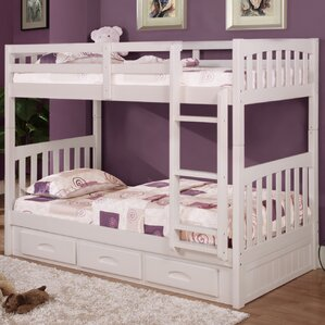 Mission Twin Over Twin Bunk Bed with D..