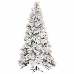 65 flocked whitegreen artificial christmas tree with 850 led clearwhite lights with stand - White Christmas Trees On Sale