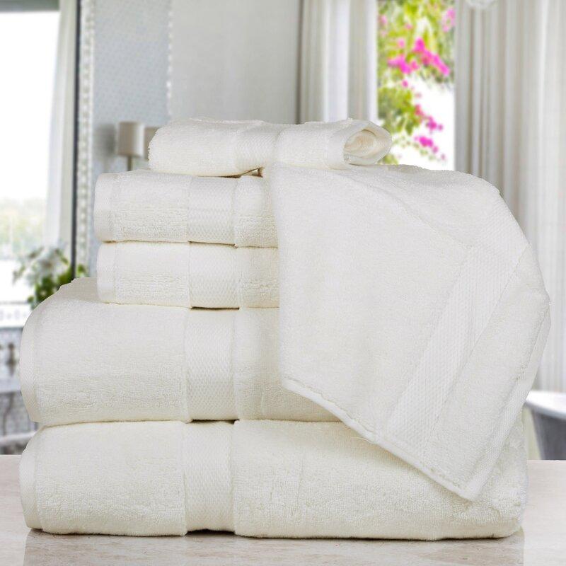 Affinity Linens Madhvi Premium Quality Luxury 6 Piece Cotton Towel Set  Color: Ivory