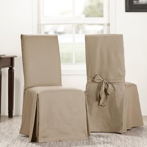 Solid Cotton Dining Chair Slipcover (Set of 2) by Ophelia & Co.