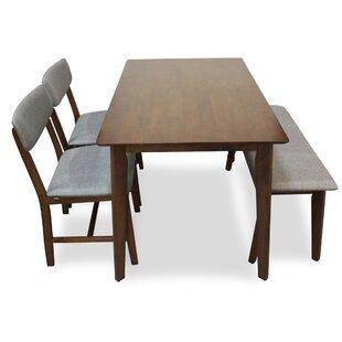 Aaru 4 Piece Solid Wood Dining Set