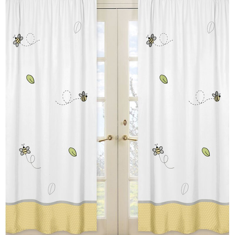 sweet jojo designs honey bee wildlife semi sheer rod. Black Bedroom Furniture Sets. Home Design Ideas