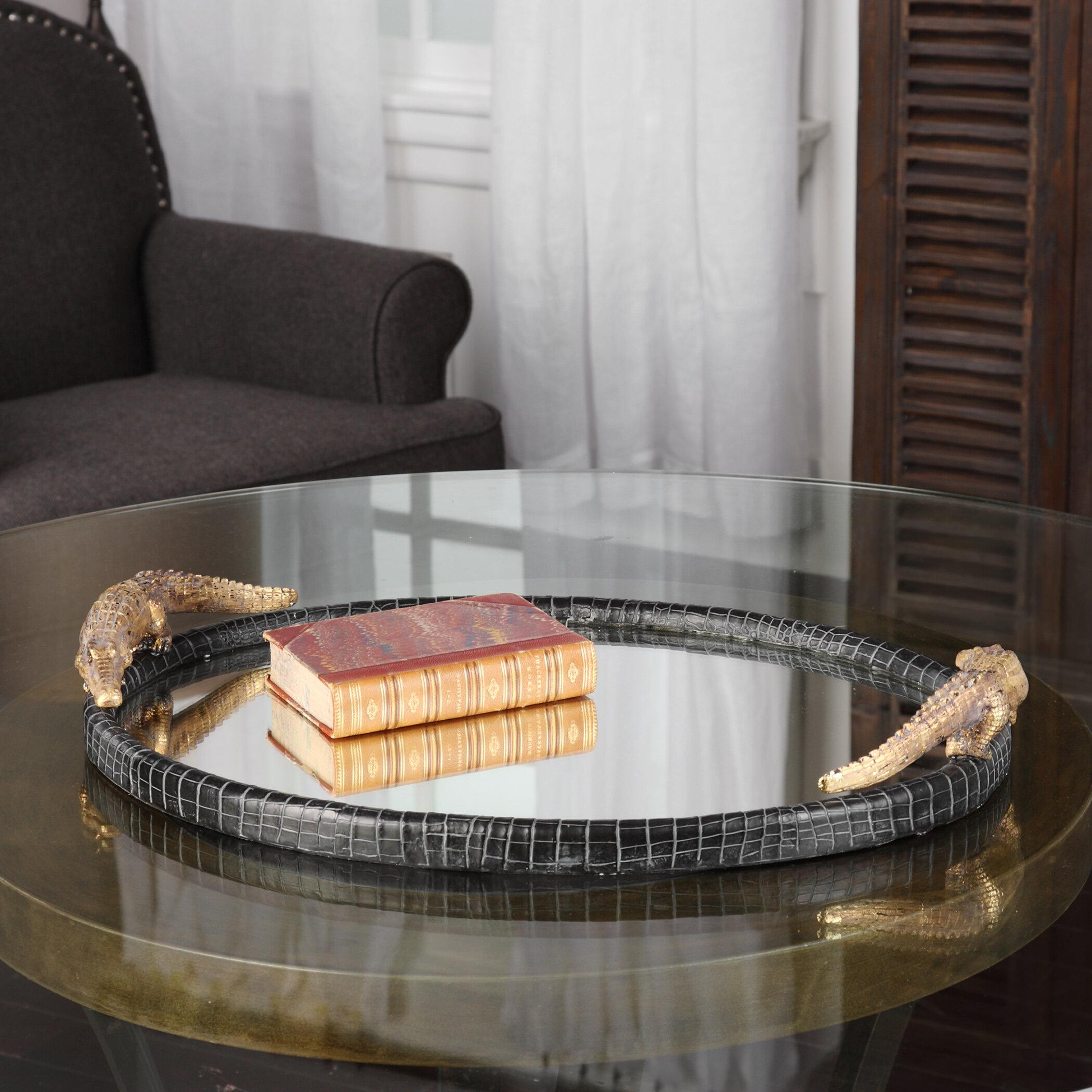 Willa Arlo Interiors Oval Alligator Mirrored Tray & Reviews