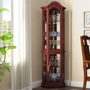 Clayborne Floor Standing 5 Sided Lighted Corner Curio Cabinet