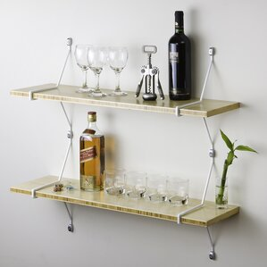 double bamboo shelves with diagonal brackets