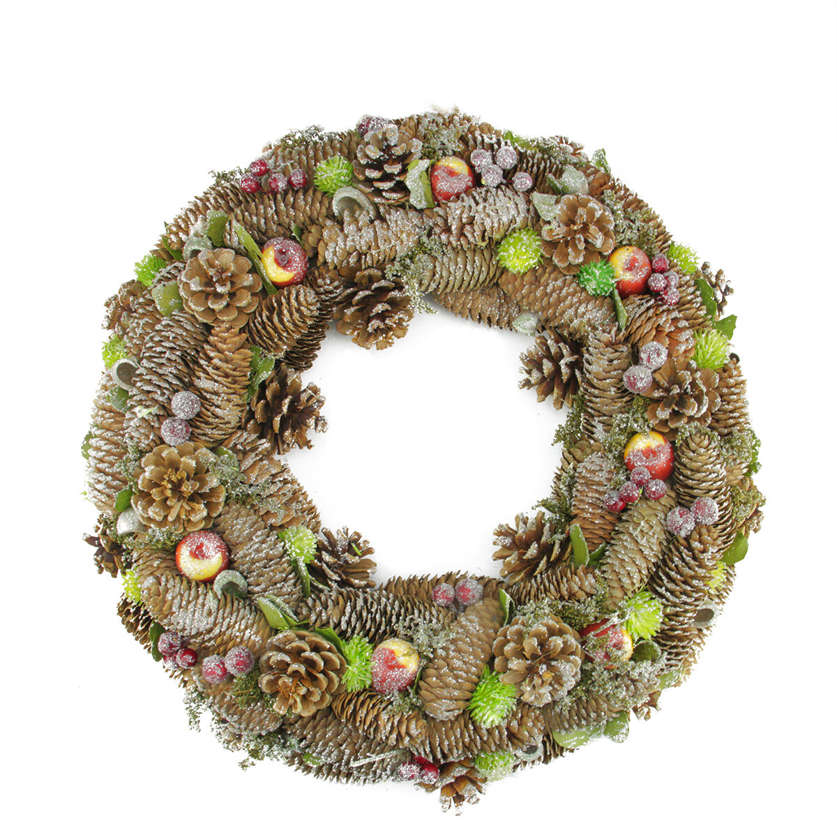 northlight 195 natural pine cone and fruit artificial christmas wreath wayfair - How To Decorate Artificial Christmas Wreath