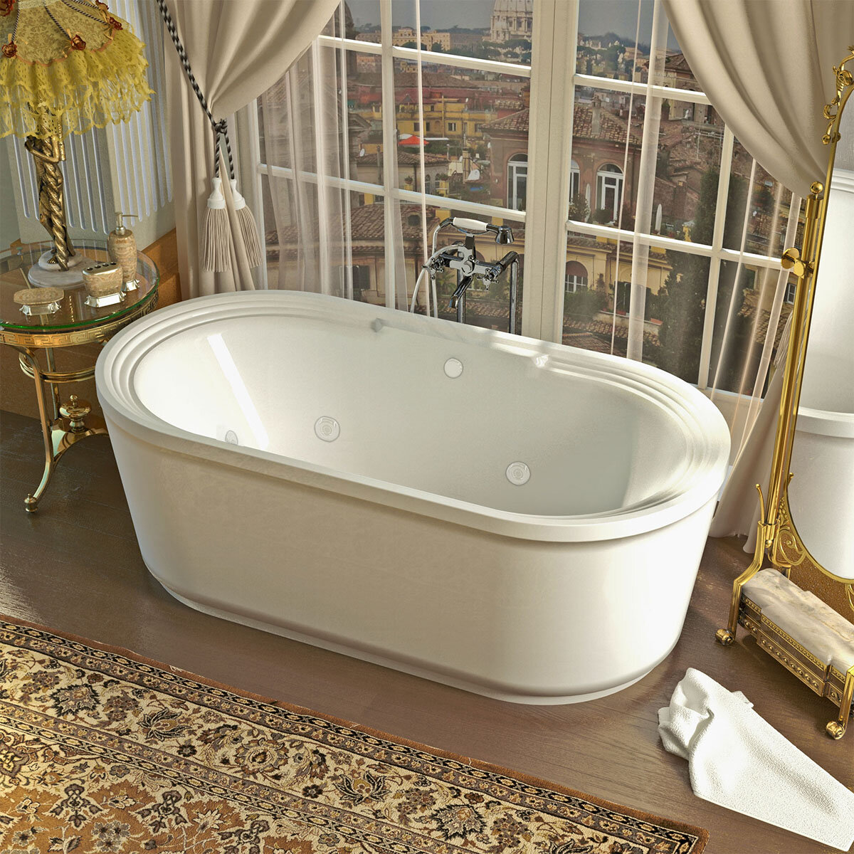 Spa Escapes Royal 66 78 X 33 62 Oval Freestanding Jetted Bathtub
