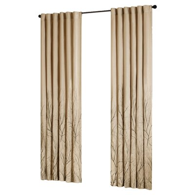 August Grove Gladeview Nature/Floral Room Darkening Rod Pocket Single Curtain Panel Size per Panel: 50 W x 84 L, Color: Tan