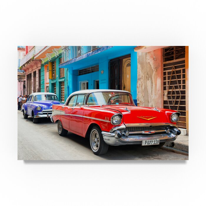 'Old Cars Chevrolet Red and Purple 1' Photographic Print on Wrapped Canvas