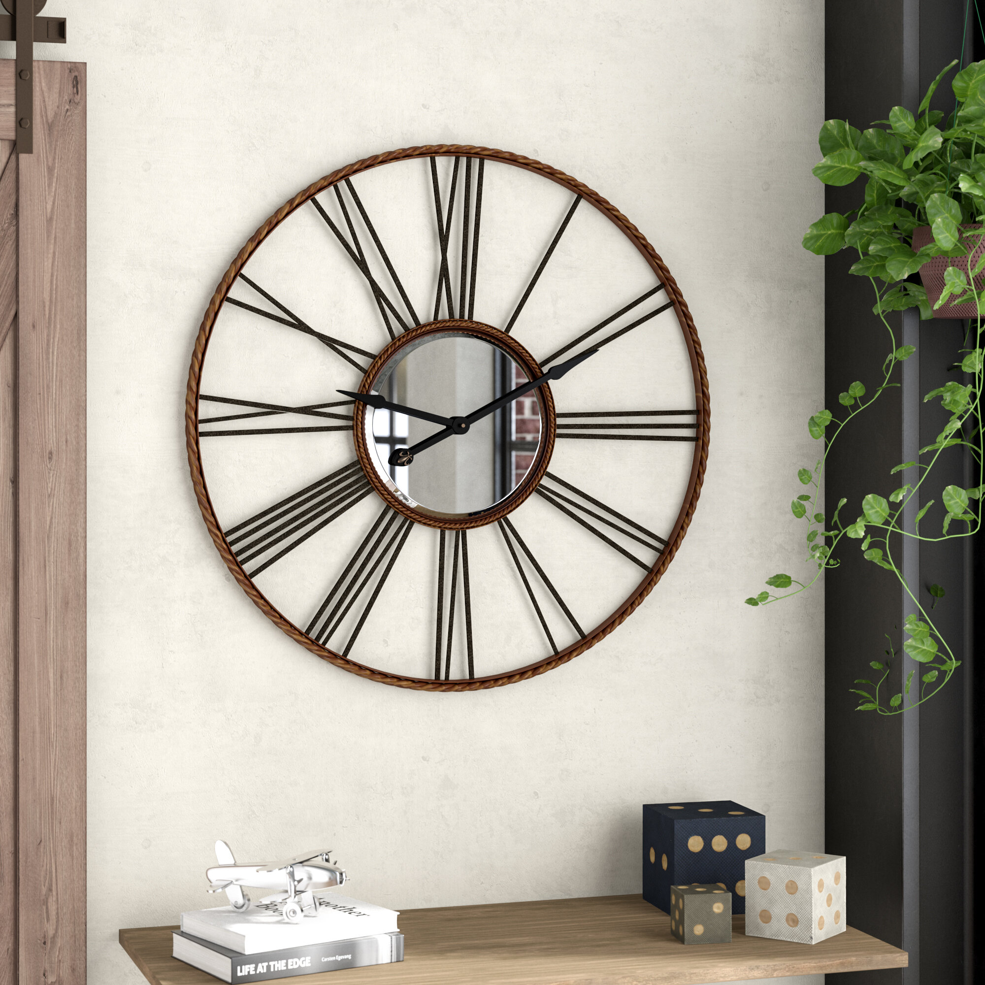 Trent austin design lonon 42 rocca oversized wall clock reviews wayfair ca