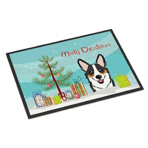Christmas Tree Corgi Doormat