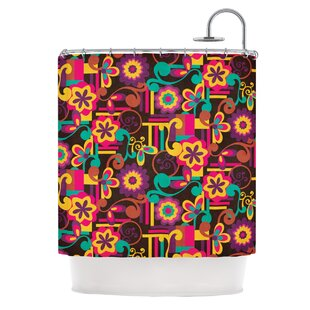 arabesque floral by louise machado bright colorful shower curtain - Colorful Shower Curtains
