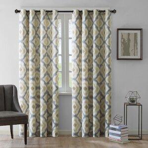 Lovely Ankara Ikat Semi Sheer Grommet Single Curtain Panel