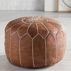 Mistana Cherise Round Pouf Leather Ottoman Amp Reviews Wayfair