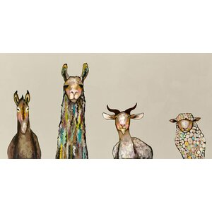 'Donkey, Llama, Goat, Sheep on Cream' Framed Painting Print on Wrapped Canvas