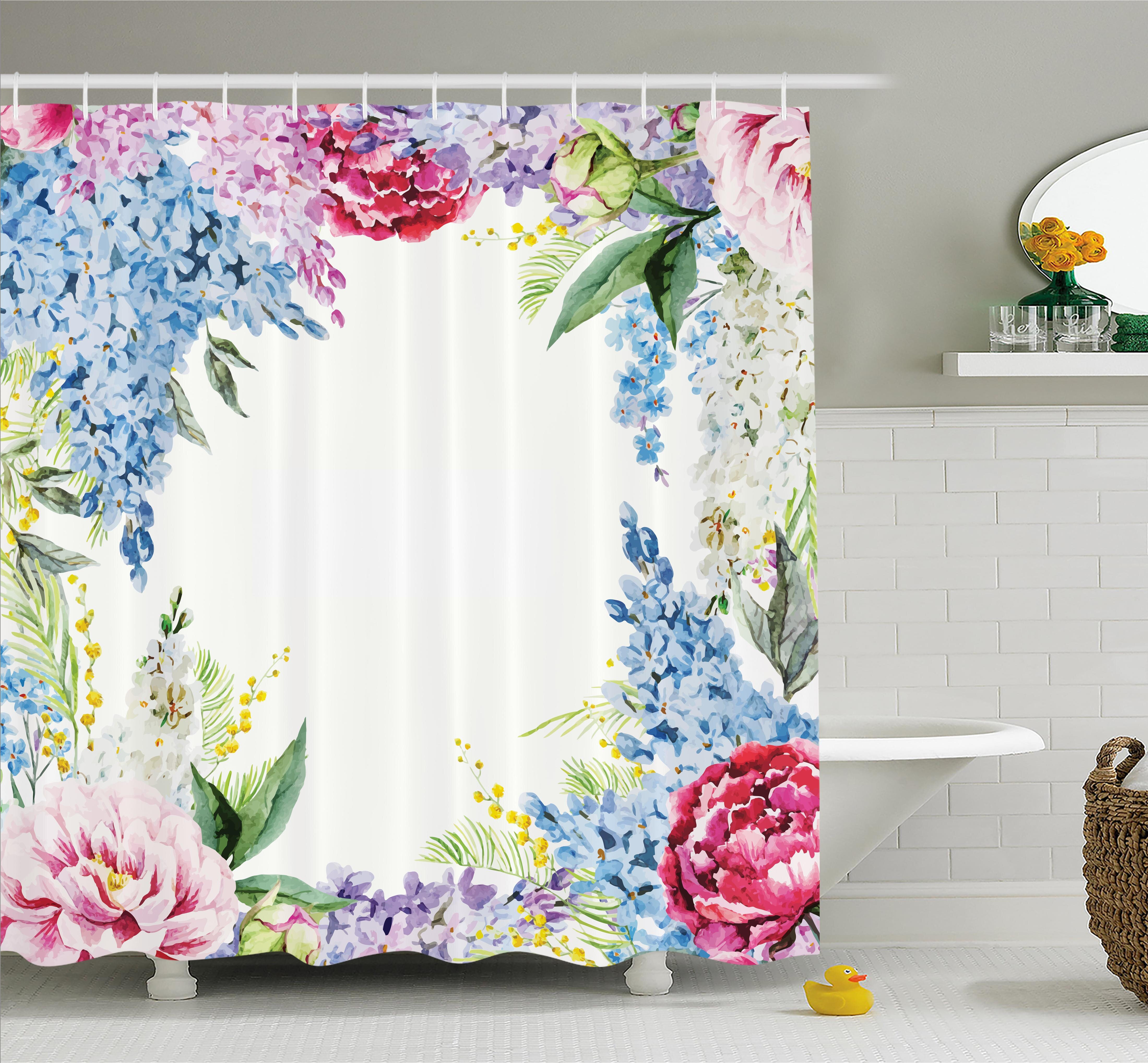 Ambesonne Flower Springtime Fragrance Garland with Bunch of Flowers Lilac Lavender Rose Peony Artsy Print Shower Curtain Set & Reviews | Wayfair