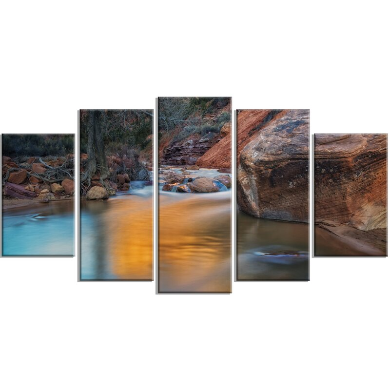 DesignArt \'Slow Motion Virgin River at Zion\' 5 Piece Wall Art on ...