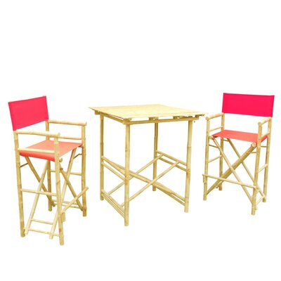 Buyers Choice Phat Tommy 3 Piece Bar Height Dining Set  Color: Red