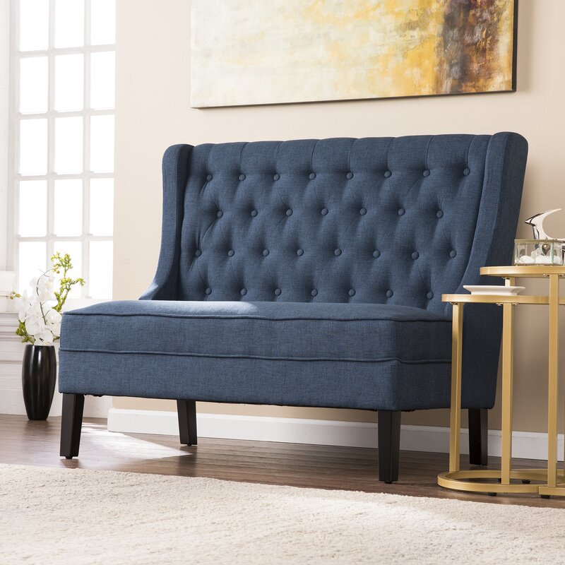 Halpin HighBack Tufted Settee Bench Reviews Joss Main