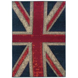 Perfect Daphne Union Jack Navy/Pink Area Rug