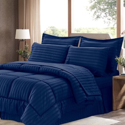 Bay Isle Home Tana 8 Piece Comforter Set Color: Navy, Size: Queen