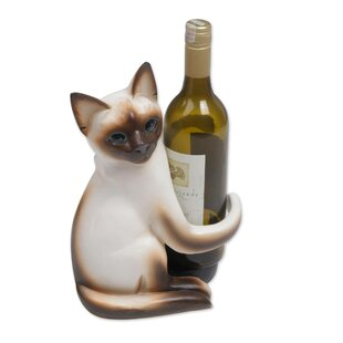Mccallum Siamese Cat Hug Tabletop Wine Rack
