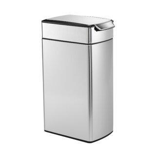 10.6 Gallon Slim Touch Bar Trash Can, Brushed Stainless Steel