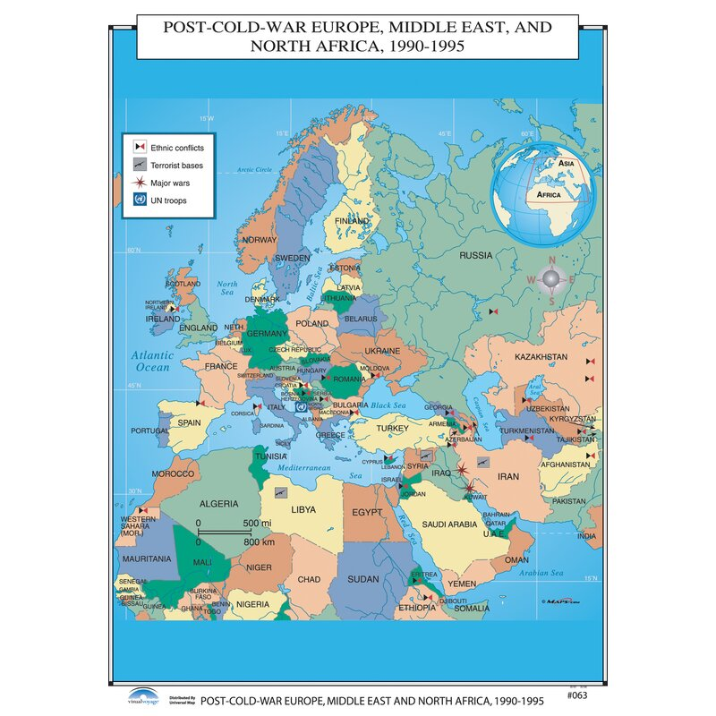Universal Map U.S. History Wall Maps - Post Cold War Europe, Middle ...