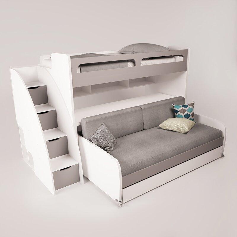 gautreau twin futon bunk bed with bookcase brayden studio gautreau twin futon bunk bed with bookcase      rh   wayfair