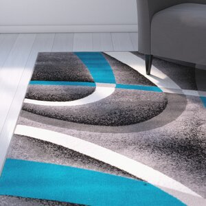 Rick Gray/Turquoise Indoor Area Rug