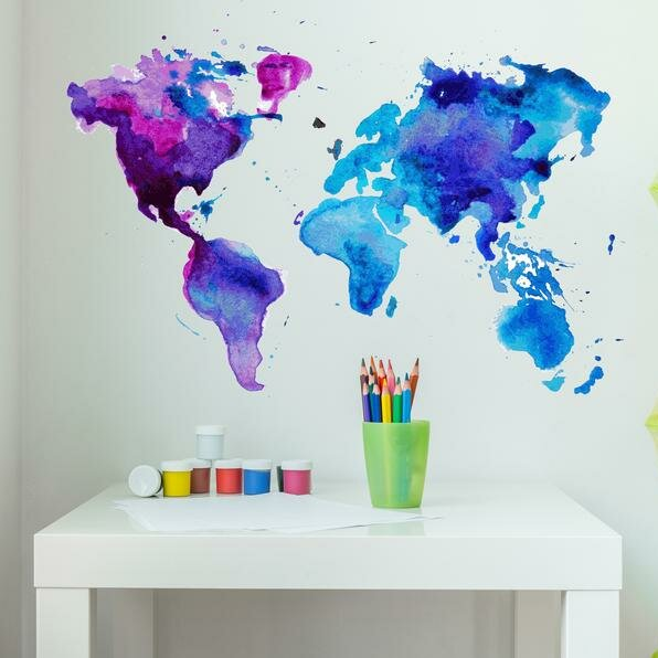 Watercolor World Map Wall Decal Part 44