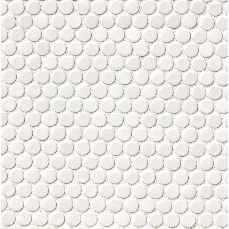 MSI Penny Round Porcelain Mosaic Tile In Glossy White Reviews - Cheap penny round tile