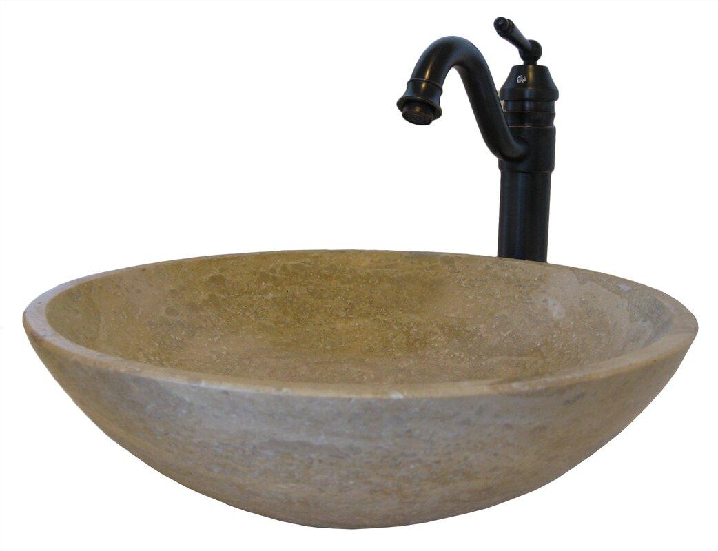 Novatto beige travertine metal circular vessel bathroom for Travertine sinks bathroom