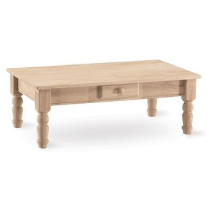 Unfinished Wood Coffee Table by International Concepts