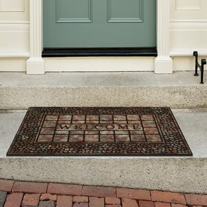Chrissy Raised Rubber Pebble Squares Doormat