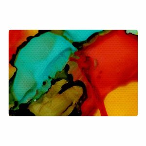 Abstract Anarchy Design Caldera #1 Teal/Red Area Rug