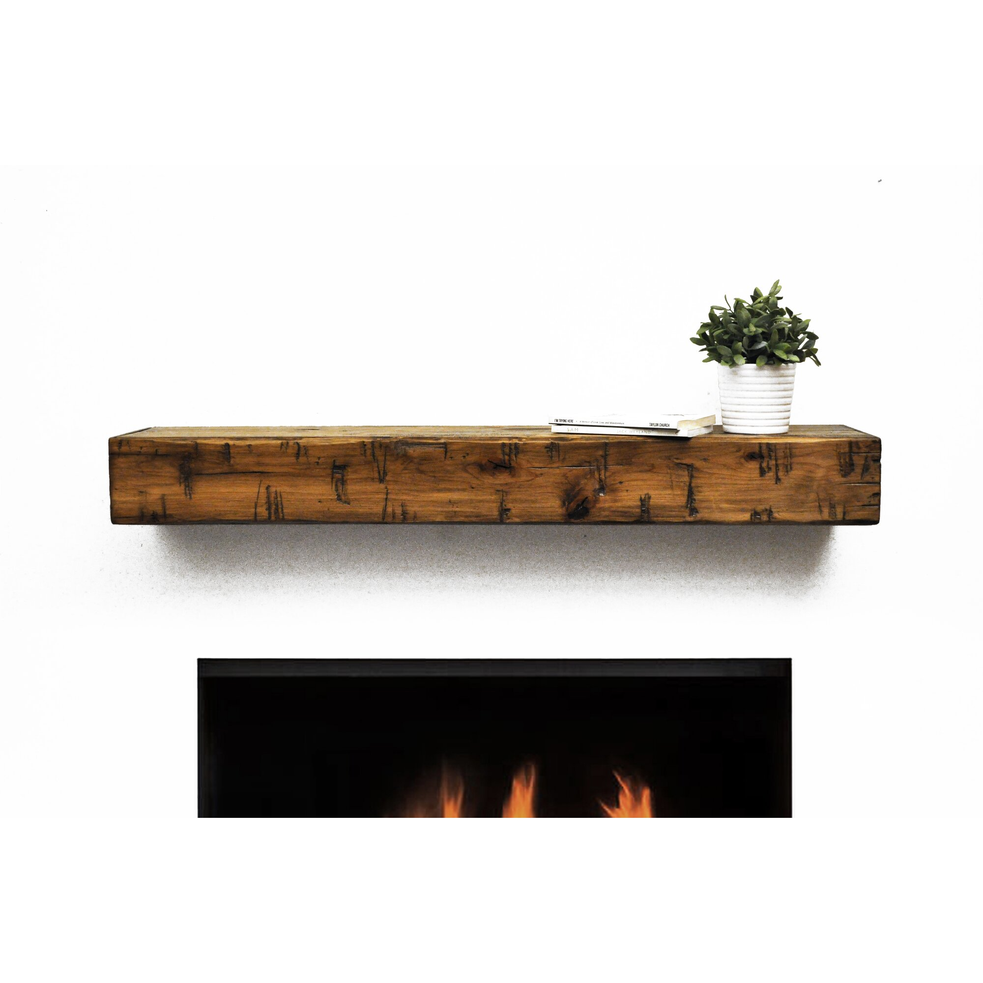Dogberry Collections Rustic Fireplace Mantel Shelf & Reviews ...