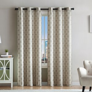 Geometric Room Darkening Grommet Curtain Panels (Set Of 2)
