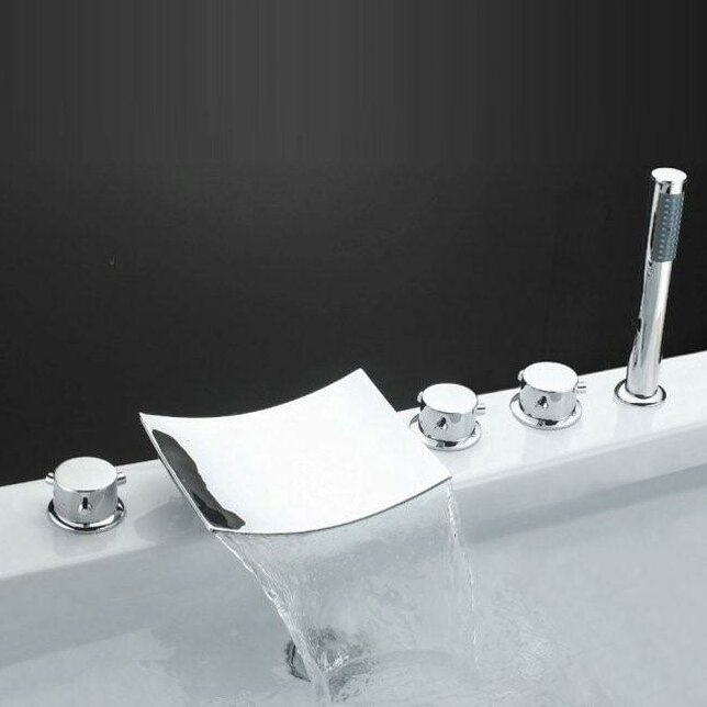 Sumerain Triple Handle Deck Mount Waterfall Tub Faucet With