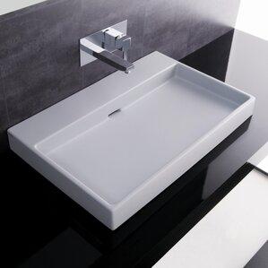 Ceramica I Urban Ceramic Rectangular Vessel Bathroom Sink With Overflow