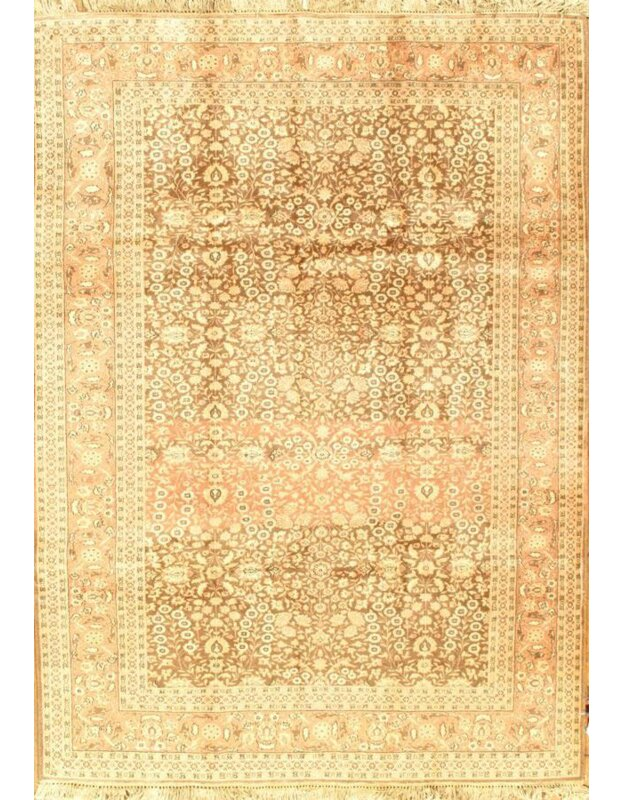 Pasargad Ny Semi Antique Herati Design Hand Knotted Wool Brown Rust