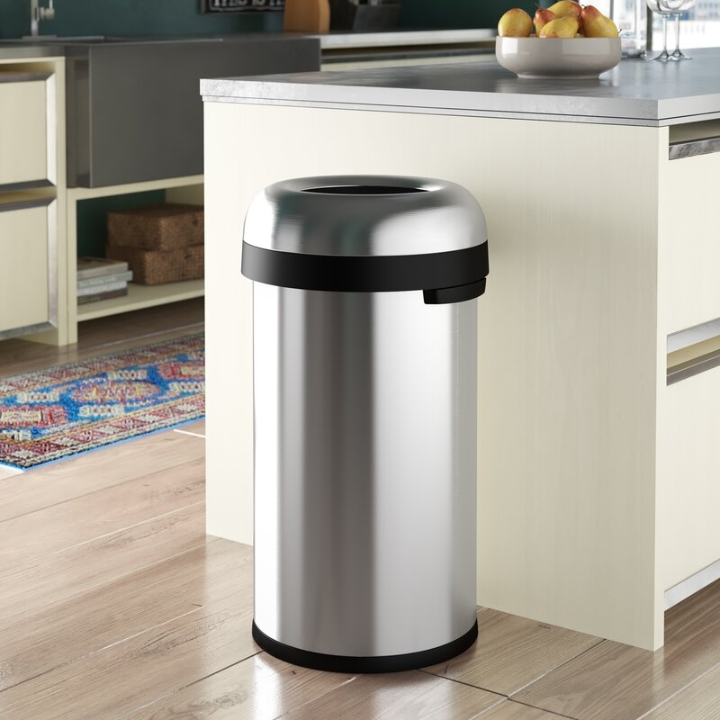 simplehuman 16 gallon bullet open trash can heavy gauge brushed stainless steel reviews. Black Bedroom Furniture Sets. Home Design Ideas