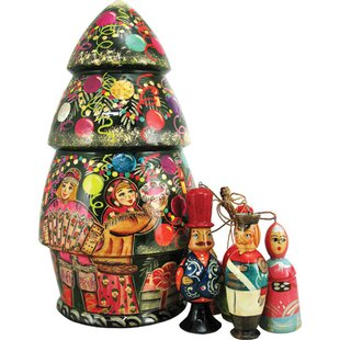 russian christmas tree nested doll hanging figurine - Nutcracker Christmas Ornaments